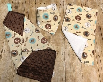 Bambi security blanket, Lovey, drool bib, bandana bib, burpcloth, gift set