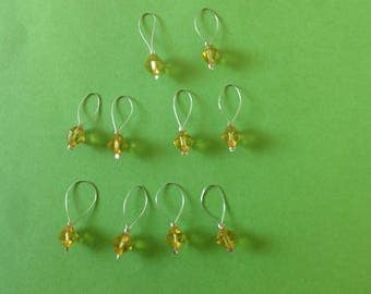 Set of 10 Sparkly Glam Yellow Gold Diamond Faceted Beads Place Keeper Knitting Marker Crochet Notion Row Stich Counter Place Marker