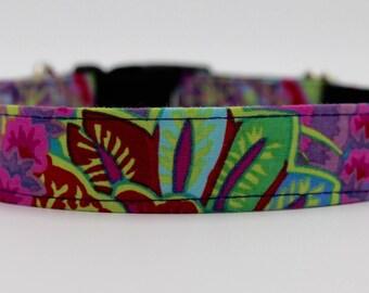 "Ultra Feminine ""Georgia"" Designer Custom Dog Collar, Purple Dog Collar, Floral Dog Collar, Large Dog Collar, Girl Dog Collar"