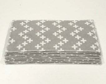 Set of 10 Reusable Cloth Baby Wipes ~ Zigzag Addition