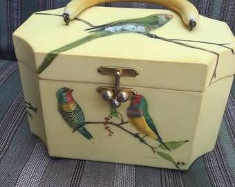 Vintage wood box purse with raised decoupage parrot design