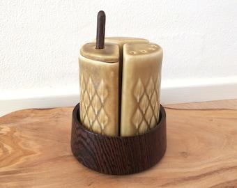 15% discount - Cruet set with wooden bowl / Relief by Quistgaard / Salt - pepper - mustard  or honey / Danish design from the 1960s
