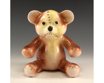Vintage Ceramic Teddy Bear Flower Vase - Made in Japan