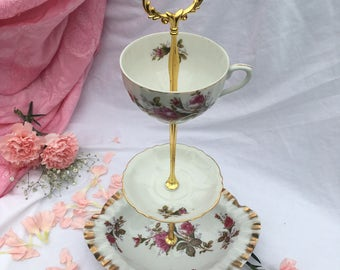 Sale Vintage Rose Perfect ,Tiered Tray, 3 tier, Teacups, Victorian Party, Pink Roses, Brunch, Cupcake Tower, Marie Antoinette, Tea Shower