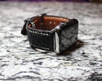 Black Sharkskin Leather Apple Watch Band