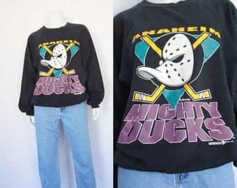 1993 Mighty Ducks sweatshirt, vintage oversized sweatshirt - soft, faded, NHL, Anaheim Mighty Ducks, Disney, hockey, 1990s 90s clothing
