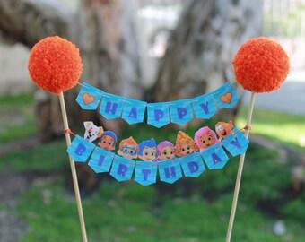 Bubble Guppies Cake Topper // Cake Banner // Bundt Cake Topper // Happy Birthday Banner