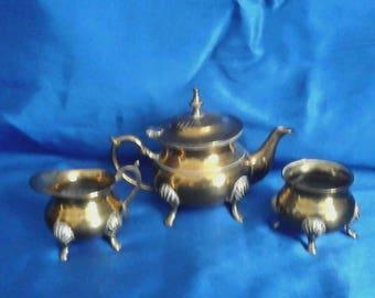 Brass 4 Legged Cauldron Teapot Set