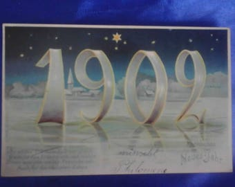 Vintage German 1902 Postcard, Frohliches Neues Jahr (Happy New Year), Used