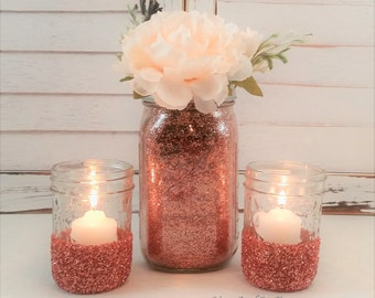 decor mason jars rose gold centerpiece baby shower decor gold