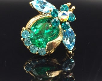 Bumble Bee Brooch, Blue Green Glass Stones, Vintage 1970s, Jeweled Insect Bug Scatter Pin