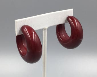 Chunky Hoop Pierced Earrings - Vintage 1980s Reddish Brown Lucite Large Tapered Hoops Statement Earrings