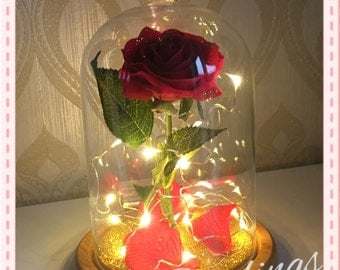 Belle Jar Rose Beauty And The Beast Magic Rose Bell Jar With or Without Lights Glass Belle Rose. All colours available