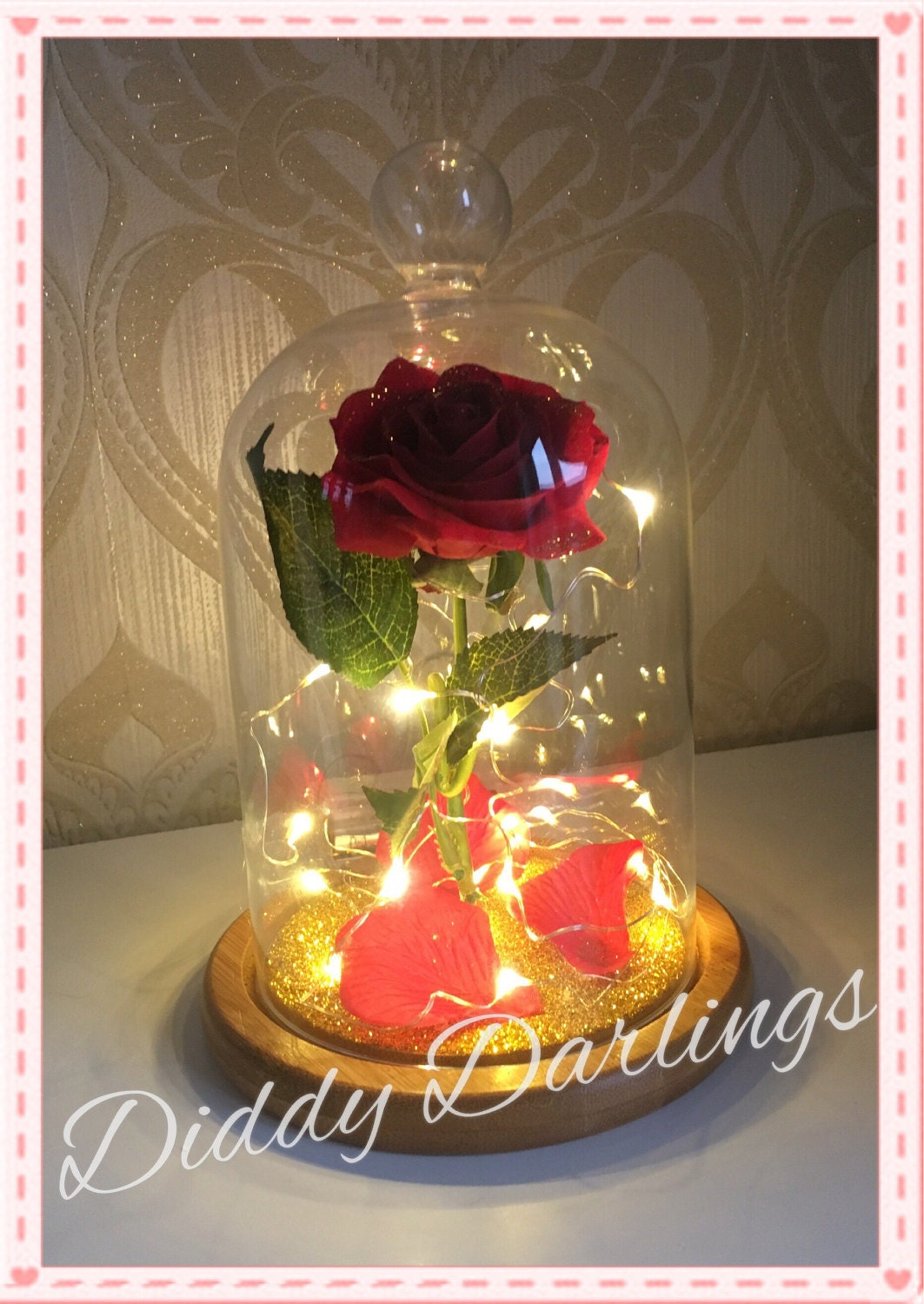belle jar rose beauty and the beast magic rose bell jar with. Black Bedroom Furniture Sets. Home Design Ideas
