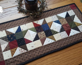 Quilted Table Runner, Country Table Runner,  Farmhouse Table Runner, Scrappy Table Runner, Table Topper. Handmade