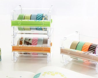 Washi tape dispenser Storage Case / Masking Tape Organizer / Washi Tape Holder/Tape cutter, Stackable washi tape holder