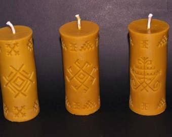 Bees wax candle set ETHNO