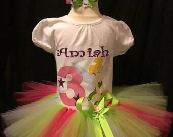 Little girls handmade Tinker Bell Tutu outfit