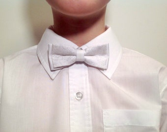 child bow tie, white with silver details