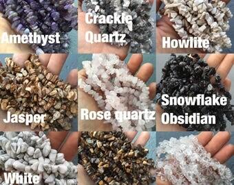 "Gemstone chip strand 33"" various stones"