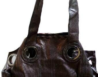 VINTAGE JAEGER Slouch Handbag Shoulder  Bronze Leather GENUINE 1970 S
