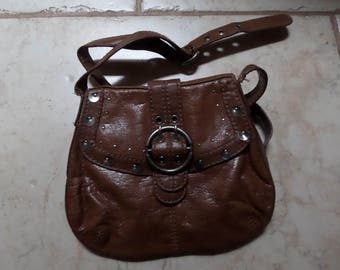 VINTAGE MEXX Cross Body Bag Brown Leather with Shoulder strap 1980s
