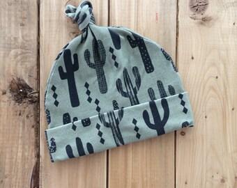 Baby Hat, Topknot Hat, Newborn, Newborn Hat, cactus  Hat, cactus top knot, Baby Boy, Baby Shower Gift