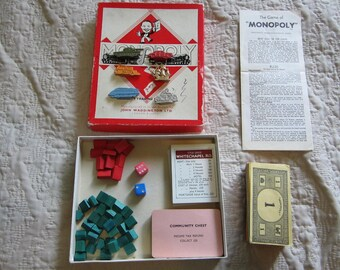 Vintage 1961 Waddingtons Monopoly Board Game PARTS Only Property Trading Game Metal Tokens NO BOARD