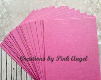 Set of 25 Pink Glitter Cardstock Sheets, DIY Glitter Place Cards or Table Numbers, Wedding or Party Invitation Supplies, Pink Glitter Sheets