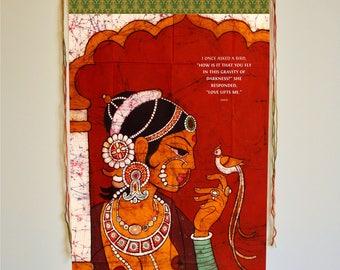 Hafiz, wall art, inspirational banner, love quotes, hafiz quote, love decor, love print, Indian woman, Indian art, I once  asked a bird