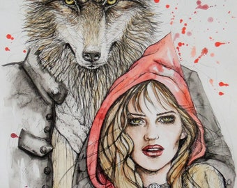 Little Red Riding Hood, fantasy wolf art, fantasy art, fairy tale art, fantasy illustration, fairy tale wolf, gift for her, original art