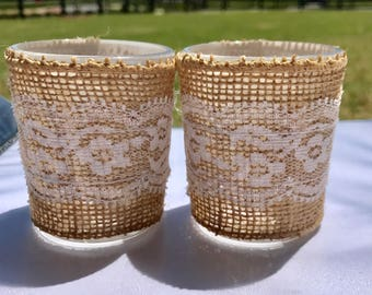 12 Lace and Burlap Candle Holders- Set of 12-Burlap votives