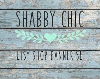 Etsy Shop Banner Set - Wood Banner Set - 7 Piece Premade Set