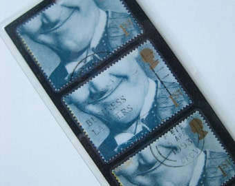 Unique bookmark made with five GB/UK postage stamps from 1990, featuring Stan Laurel. Great stocking filler.