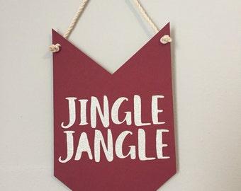 JINGLE JANGLE pennant banner // christmas decor, holiday decor, hostess gift, merry & bright, jingle bells