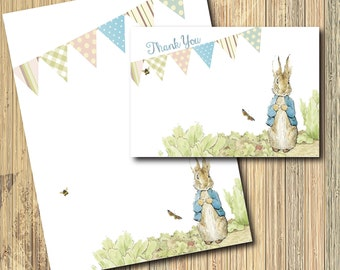 Vintage Peter Rabbit Thank you Note and Blank Letter Sheet/INSTANT DOWNLOAD/printable/digital