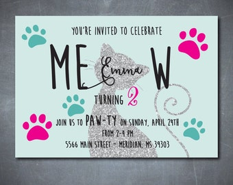 """Cat Birthday Invitation printable with silver glitter detail..""""MEOW""""/DIGITAL FILE/wording and colors can be changed/girl, kitten, pink, aqua"""