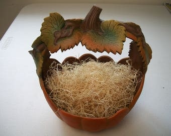 Ceramic Pumpkin autumn leave carved basket Halloween,fall decoration