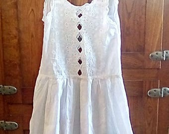 Gorgeous, intricate needlework vintage slip,nightie, for a young girl or xs woman