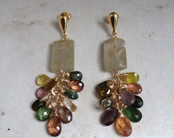 Goldfilled 14k, rutile quartz, green and yellow apatite and turmalines. 6 cm
