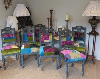 Painted Patchwork dining chairs Shabby Chic Antique painted dining chairs X 8