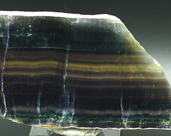 Blue, Purple, Clear Banded Fluorite polished Slab - Mineral Specimen for Sale