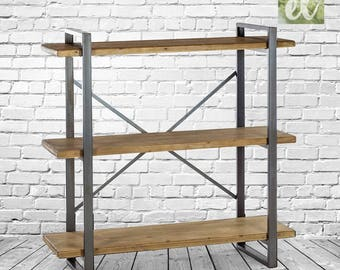 Solid Heavy Metal & Wood Industrial style large shelf unit.