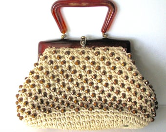 Vintage Purse Straw Raffia Copper Beads Italy 1960s