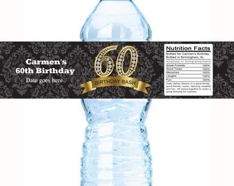 30 Birthday Water Bottle Labels, Personalized Bottle Labels, Black Birthday Labels, Birthday Bottle Wraps, 60th Diamond, Birthday Favor