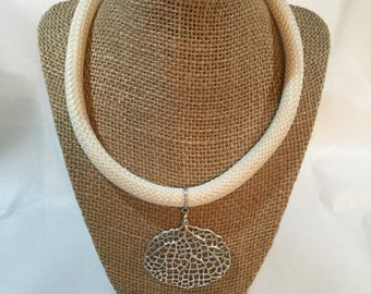 Silver Seafan and Rope Necklace