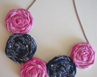 Rolled Fabric Flower Necklace in Pink, Navy Blue