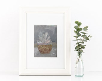 Still life - original oil painting on paper - grey plant and knitted jar - 15 x 10,5 cm