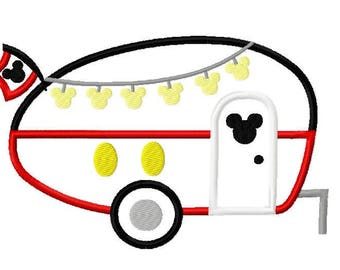 Inspired Mister Mouse Character Camper RV Embroidery Applique Design