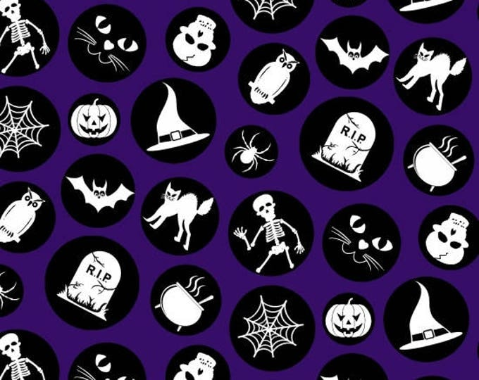 Ready, Set, Glow by Blank Quilting - Halloween Motifs - GLOW in the Dark Cotton Woven Fabric